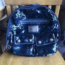 COACH Poppy Sequin Spotlight Backpack Denim Blue Navy 15348 $498 MSRP