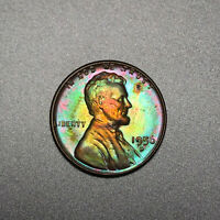 1956-D Lincoln Wheat Cent 1C - Gem Uncirculated - Colorful Toning