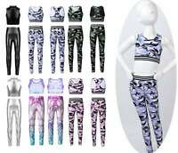Girls Gym Dance Outfit Yoga Sports Stretchy Tanks Crop Top Leggings Kids Costume