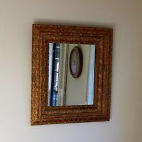 Vintage Rectangular Mirror with Ornate Gilt Wood Frame