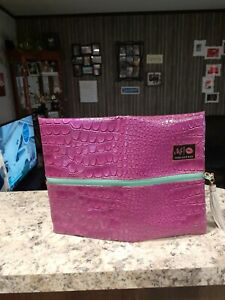 Makeup Junkie MJ Bag LARGE Makeup Cosmetic Bag Croc Print Purple/Blue/Green NWOT