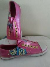Don Ed Hardy Pink true Love patent leather slip on sz6