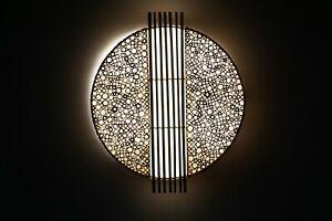 Wandlampe Bambusringe mit Bambusstäben / Morgenland Möbel & Accessoires