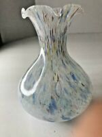 Multi Color Glass Murano Vase Ruffled Top Art Made in Italy Home Decor Pottery