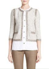 St. John Collection Kira Tweed Knit Jacket 12 Brown Blanco Safari Women's $1,295