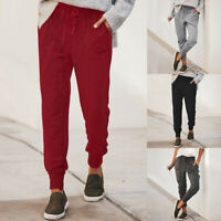 Women Tying Loose Casual Pencil Solid High-waist Sports Long Pants Trousers DZ