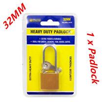 Brass Padlock 32mm Long Shackle Lock Cut Resistance Heavy Duty with 3 Keys WMCV
