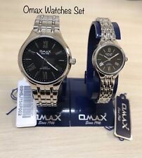 Omax Ladies & Gents Black Dial Watches Matching Set Authentic New With Box