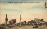 Hartford CT Skyline Old Cars Hwy Hand Colored Postcard