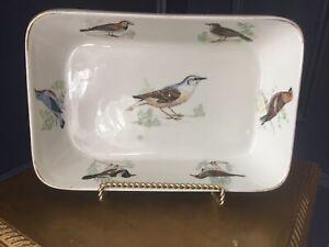 """Vintage Louis Lourioux Le Faune Porcelain Rectangular Casserole Bird France 11"""""""