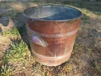Vintage Antique Copper Boiler Tub Pot Washtub Wash Tub Primitive Planter Rustic