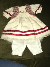 Pretty Ivory/Red w/Embroidered Flowers Dress w/Bloomers for 19� Doll