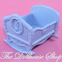 Fisher Price Loving Family Dollhouse Blue Baby Doll Crib Cradle Boy Twin Nursery