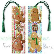 "GINGERBREAD Large BOOKMARK w/TASSEL 6"" Christmas Book Card Art Figurine Ornament"