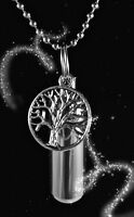"TREE OF LIFE ANOINTING OIL HOLDER on 24"" Ball-Chain NECKLACE with Velvet Pouch"