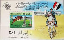 Libia libia 1977 bloque 34 S/s 704 Intl. turf CS montar a caballo reitturnier equestrian **
