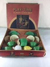 Akro Agate Concentric Ring Tea Set Play Time Green Cream  Original Box