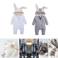 Bunny Ear Long Sleeve Romper Baby Jumpsuit Bodysuit Outfits Infant Baby