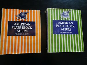 2 American Plate Block Albums With 108 Plate Blocks & 2 Blocks of 4 Stamps