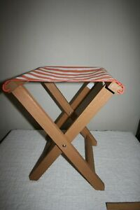 IKEA SOLBLEKT picnic stool chair wood/canvas orange stripe folding NEW