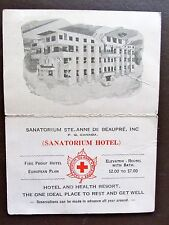 Vintage SANATORIUM HOTEL AUTO ROAD GUIDE AD Canada Quebec Hotel Health Resort