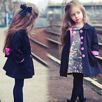 Kids Girls Trench Coat Winter Parka Belted Jacket Cardigan Button Outwear Tops