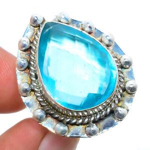Blue Topaz Gemstone 925 Sterling Silver Handmade Bali Ring s.6 M1520