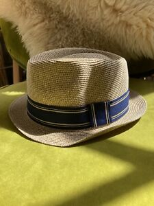 GOORIN BROS Straw Fedora Trilby Boater Panama Hat Size With Navy Band L NEW