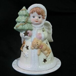 Porcelain Christmas Candle Holder Girl With Tree And Teddy Bear