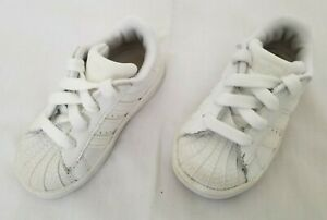 Toddlers Size 6K White Adidas Superstar II Leather shoes 901038 preowned