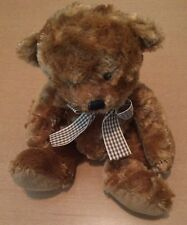 """Russ Brown Bear with Plaid Bow Named Tyler 11"""""""