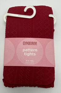 Gymboree Girls Pattern Tights Kids Fall Stockings Hosiery Maroon Red Size 3-4