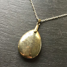 Natural Gold Pyrite Drop Shape Pendant With Silver Plated Chain Necklace Heavy