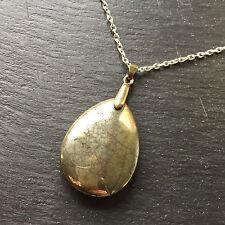 Pirita Natural Forma de Gota Colgante De Oro Con Cadena Collar Chapado En Plata Pesado