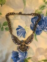 Vintage Huge Eagle And Cut Glass Stones Necklace C 1950s/60s