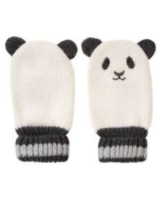 GYMBOREE SNOW PANDA WHITE PANDA FACE SWEATER MITTENS 0 12 24 NWT