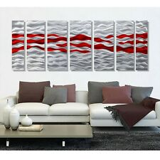Statements2000 Large 3D Metal Wall Art Panels Silver Red Modern Decor Jon Allen