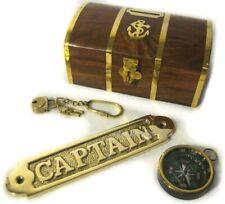 3er Set Piraten- Spardose mit Schloß- massives Türschild Captain- Kompass Messin