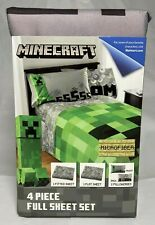 Minecraft Creeper 4 Piece Full Size Sheet Set Pillowcases Microfiber Bedding NEW