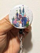 Disney Castle Watercolor ID Badge Reel Holder Clip Retractable RT Tech Nurse RN