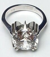 Vintage Silber Ring Modernist 835 Silber großer Bergkristall RG 54/17,2mm / A283