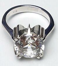 Vintage Silber Ring Modernist 835 Silber 60th - großer Bergkristall RG 54 / A283