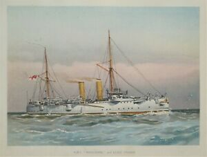 H.M.S.MAGICIENNE,  R.Low Original antique nautical Navy maritime ship print 1892