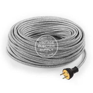 Silver Glitter Cordset - Cloth Covered Rewire Set - Antique Lamp & Fan Cord