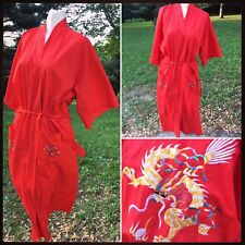 EMBROIDERED GOLD DRAGON 🐉 DEEP POCKETS RED ROBE KIMONO VINTAGE Women's Medium