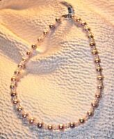 """16"""" Pink and White FWP Pearl Necklace 14K Gold Clasp"""