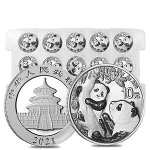 Sheet of 15 - 2021 30 gram Chinese Silver Panda 10 Yuan .999 Fine BU (Lot, Roll