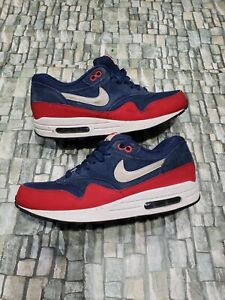 Nike Air Max 1 Essential Mens Running Shoes Navy Blue Red  Size 8