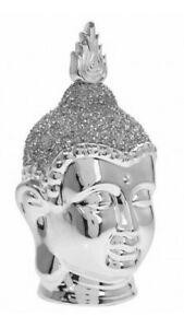 Leonardo Silver Sparkle Buddha Head Sculpture Figure Diamante Ornament Small