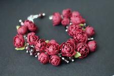 Flower peony cute wedding bridal bracelet HANDCRAFTED party Fashion polymer clay